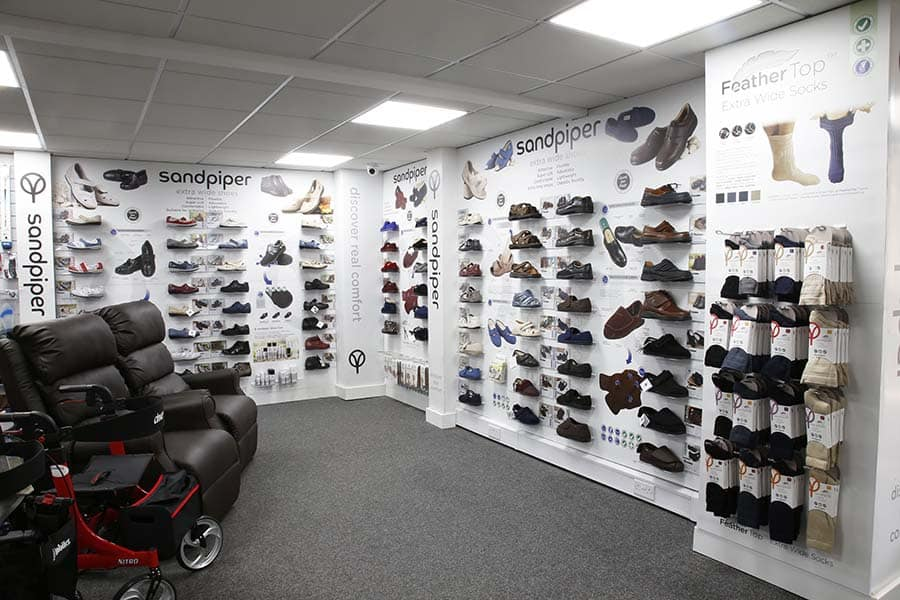 Sandpiper Shoes display in mobility shop