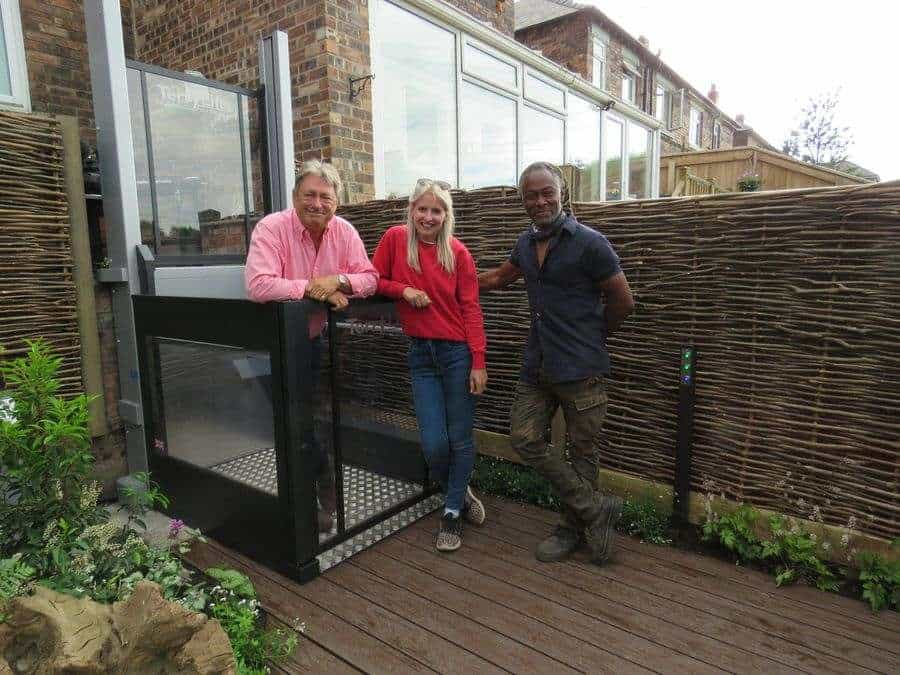 L-R: Alan Titchmarsh; Katie Rushworth and Danny Clarke. www.terrylifts.co.uk