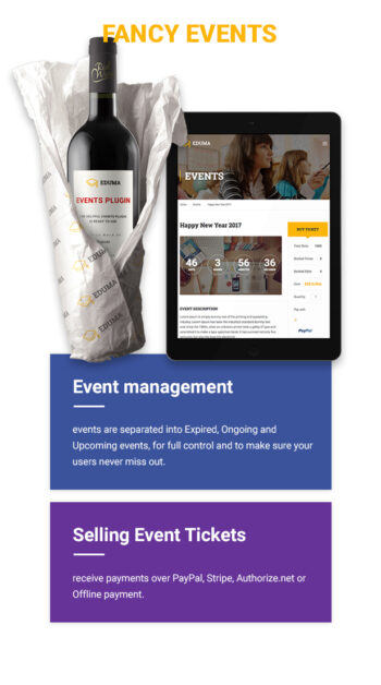 Education WordPress theme - Fancy events