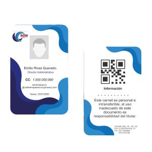 Tarjetas de Identificación Plásticas a Color Personalizadas X10
