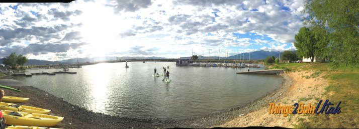 Although the panorama distorts the size, it shows the beauty. With the boat dock on the south and boat tie downs on the north, Lindon Marina is a perfect place to play