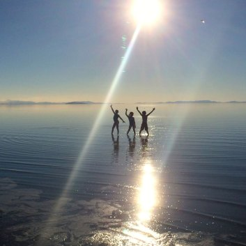 Playing in water at Antelope Island in the Great Salt Lake