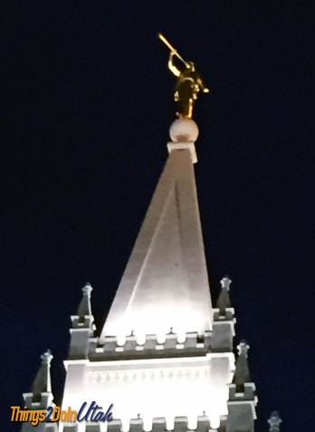 salt lake temple angel moroni at night