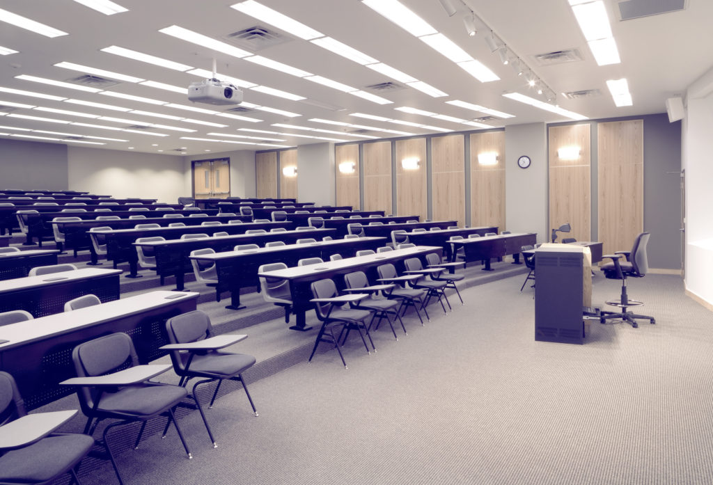A large, empty lecture hall