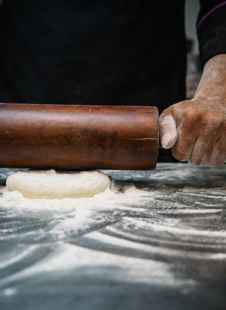 rolling pin with dough