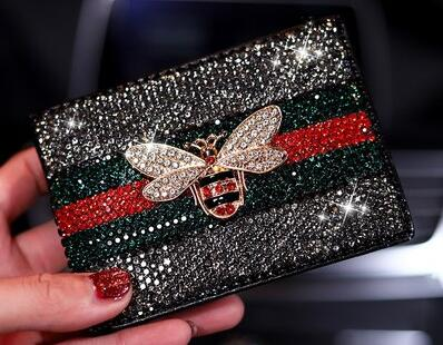 Bling Crystal Little Bee Gucci Inspired Leather Car Key Case