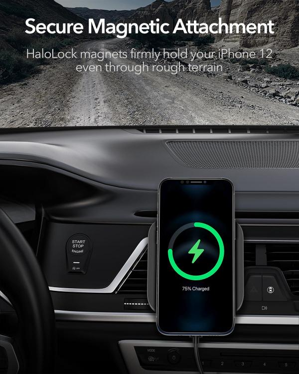 HaloLock Magnetic Wireless Car Charger Mount for iPhone 12