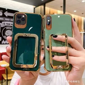 Luxury iPhone 12 11 Electroplated Metal Square Support Phone Case