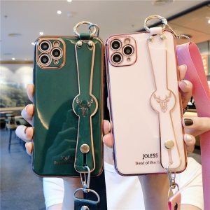 Luxury iPhone 12 Electroplate Elk Wristband support Lanyard Phone Case