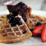 Clementine Waffles with Mixed Berry Compote