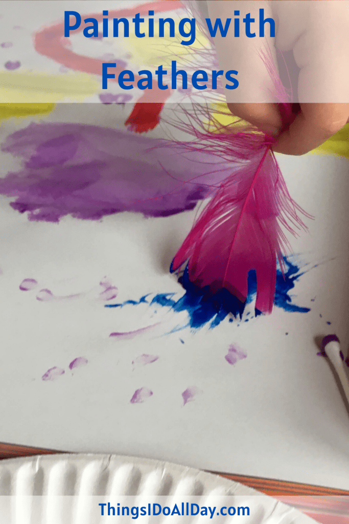 Painting with Feathers with kids