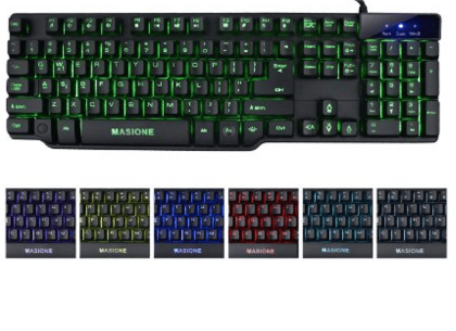 Masione Multi-Color Half Mechanical USB Wired Gaming Keyboard with LED Illumination