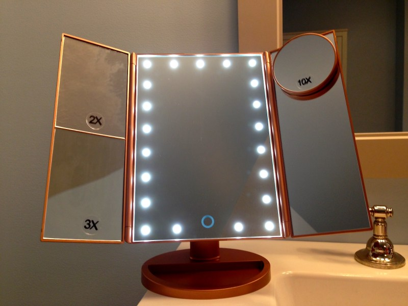 ILuminate Beauty Essentials-3 Panel Folding Vanity Magnifying Mirror & Base Camp Deluxe 5 in 1 Apple iOS device charger