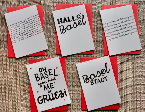 5 Basel themed cards with red envelopes