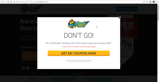 Popup quảng cáo từ website mua hàng