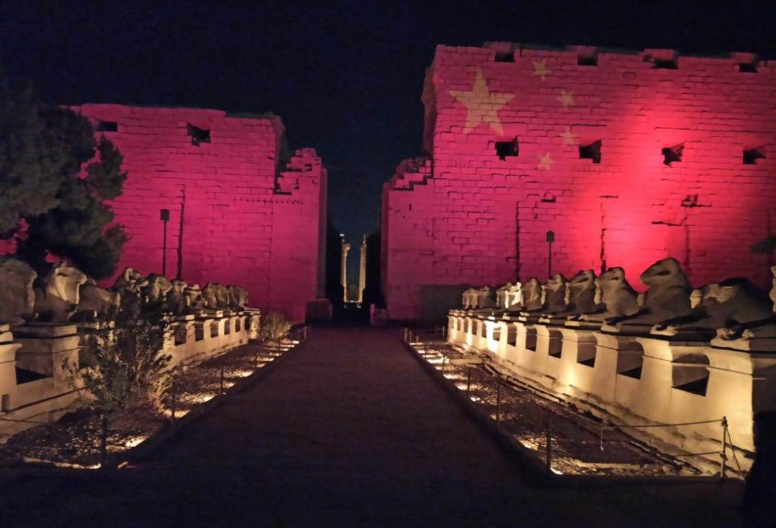 Lighting the Karnak Temples In Egypt With The Chinese Flag