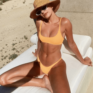 Hailey Bieber In Yellow Bikini