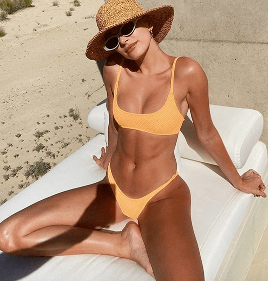 Hailey Bieber In Yellow Bikini