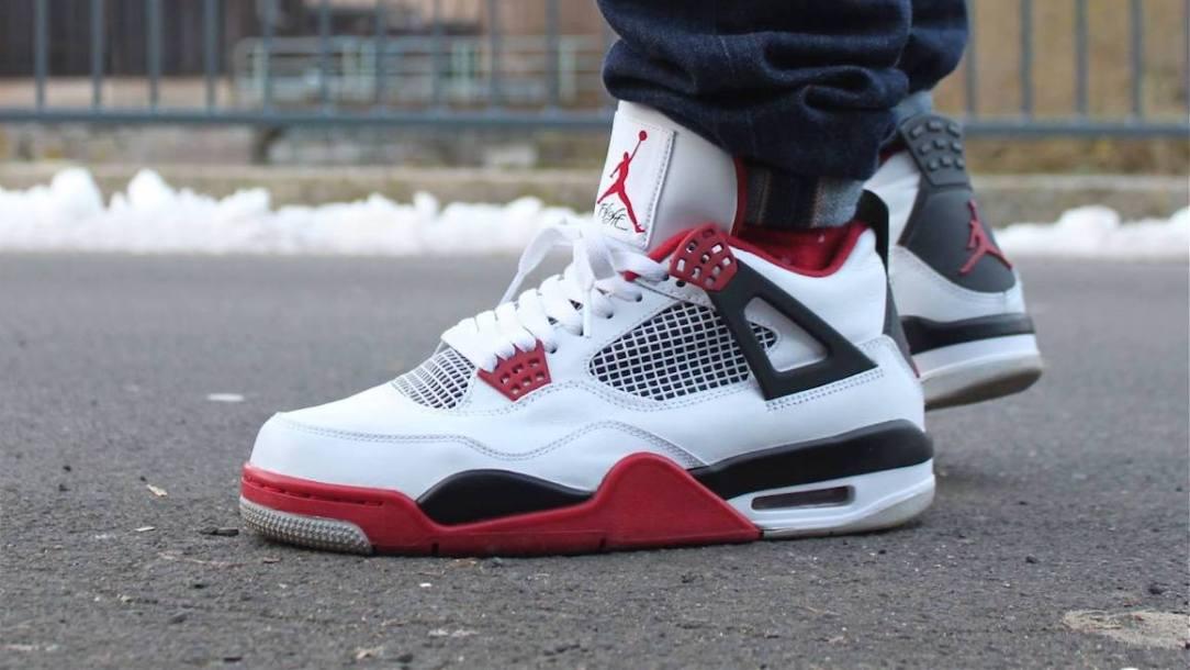 air jordan 4 fire red on feet