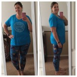 """My favorite """"birth"""" outfit....an ImprovingBirth.org t shirt with """"vagina leggings"""" (LuLaRoe leggings with a leaf print that happens to look A LOT like vaginas)"""