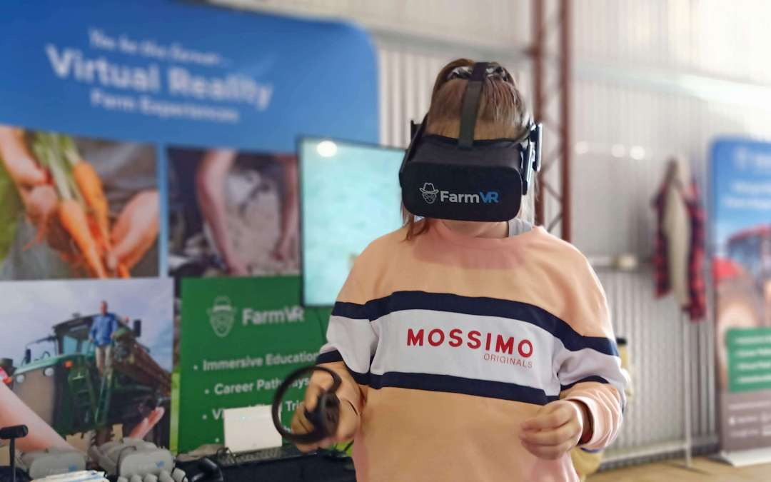 Shearing a sheep in the FarmVR Sheep Shearing Simulator at the Yorke Peninsula Field Days 2019