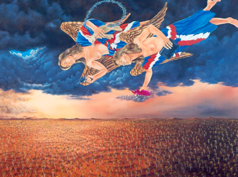 And on the Eighth Day (1992), 182 x 145 cm. © Lin Onus Estate : Licensed by Viscopy, 2013.