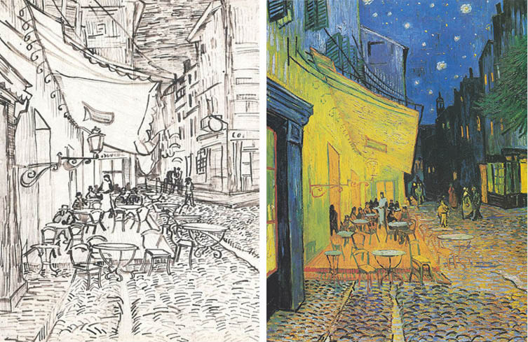Cafe Terrace at Night, Sketch – Vincent van Gogh; Cafe Terrace on the Place du Forum, Arles, at Night – Vincent van Gogh (1888)