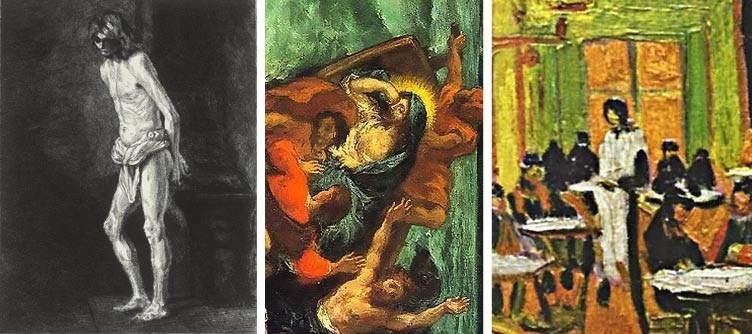 Christ at the Column – Gaujean; Christ Asleep during the Tempest – Delacroix (cropped); Café Terrace at Night – Vincent van Gogh (cropped)