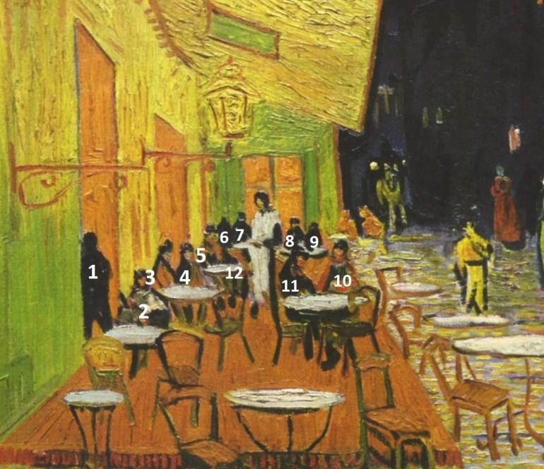 Café Terrace on the Place du Forum, Arles, at Night (cropped) – Vincent van Gogh (1888)