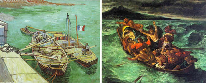 Quay with Sand Barges, van Gogh; Christ Asleep during the Tempest, Delacroix