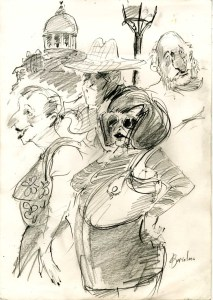 Reportage drawing by Louis Netter of the University of Portsmouth. Image Copyright © Louis Netter 2016. All rights reserved.