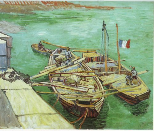 Quay with Men Unloading Sand Barges-Vincent van Gogh-1888