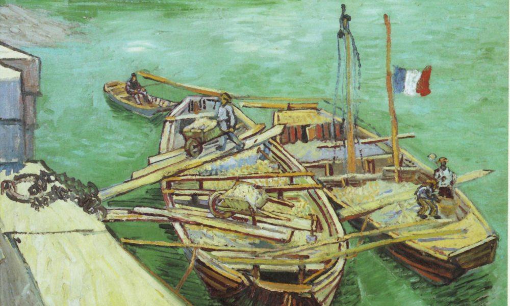 Quay with Men Unloading Sand Barges-Vincent van Gogh-1888