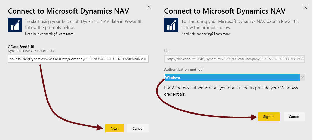 Connecting the Power BI Dynamics NAV Content Package to a local NAV 2016 instance