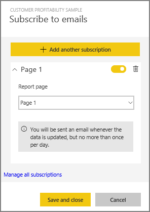 Subscribe to a Power BI report