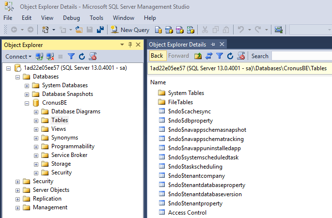 How to connect Sql Server Management Studio to the NAV 2018 database on Docker?