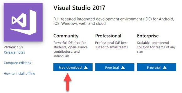 MICROSOFT VISUAL STUDIO 2017 COMMUNITY VERSION FREE DOWNLOAD