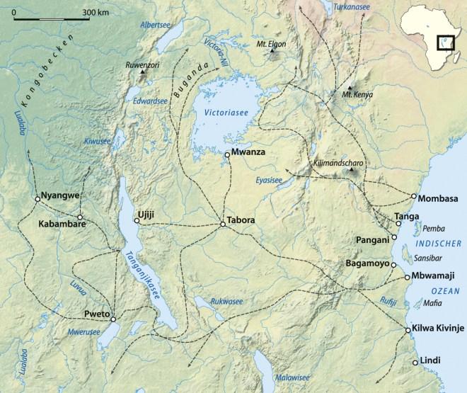 force publique - east african slave routes Karawanenrouten_Ostafrika