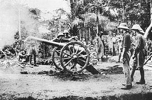 german west africa schutztruppe - British 12-pounder firing at Fort Dachang in 1915