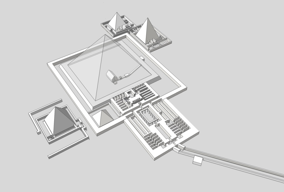 Close up of the pyramid complex of Pepi II taken from a 3d model