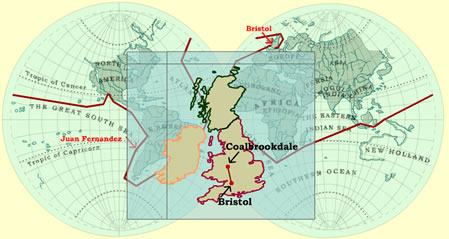 Map of Great Britain showing Bristol and Coalbrookedale, Shropshire