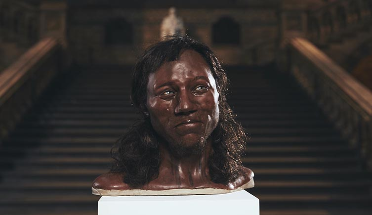 The model of Cheddar Man rendered by Kennis & Kennis Reconstructions
