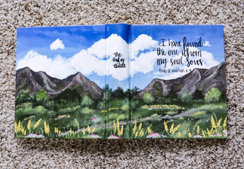 Painted Journaling Bible  Hand Painted Bible  Floral Painted image 0