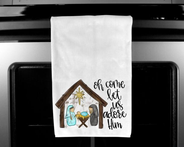Nativity gift Christmas kitchen towel Christmas kitchen image 0