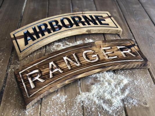 14 Rustic Airborne Tab / Ranger Tab Military Gift Plaque image 0