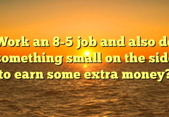 Work an 8 to 5 job and also do something small on the side to earn some extra money?