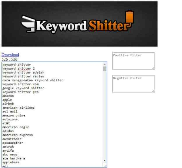 how to use keyword shitter