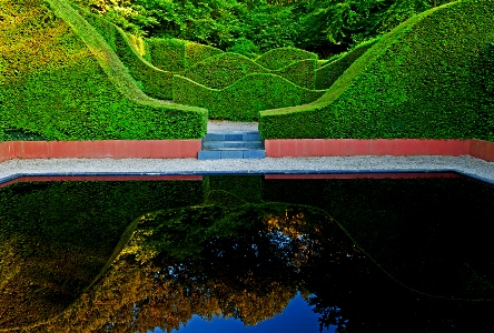 Veddw House Garden, Monmouthshire, Wales. Designed and created by Anne Wareham and Charles Hawes. July. The Reflecting Pool and Hedge Garden with view to the Coppice. Copyright Charles Hawes for thinkingardens