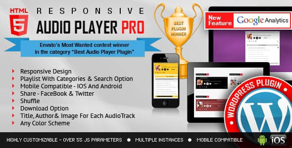 Responsive HTML5 Audio Player Pro WordPress Plugin 2.8.3