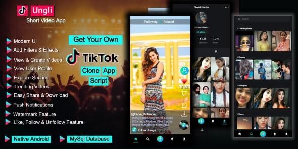 Ungli 100 Short Video Creating App Tiktok Clone